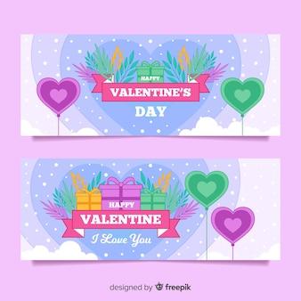 Snow banner valentine set