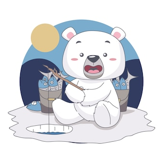 Snow bear fishing, want to eat fish in food festival illustration