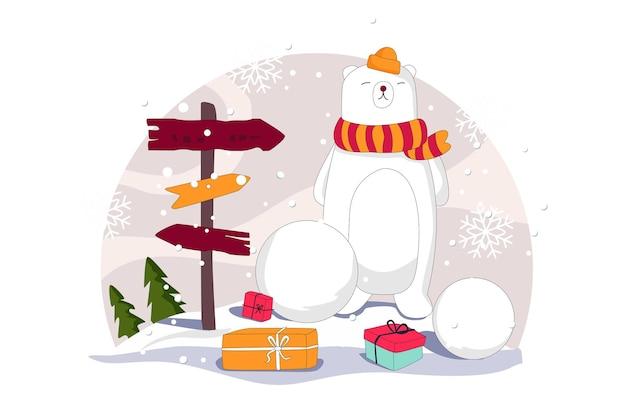 눈 곰과 선물 패키지 메리 크리스마스 벡터 평면 그림