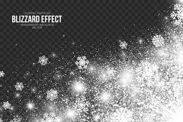 透明な背景のメリークリスマスと新年あけましておめでとうございますの装飾に吹雪の影響