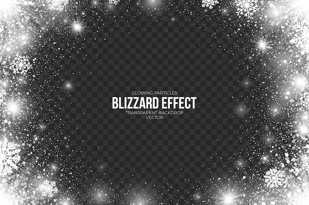 Snow blizzard effect on transparent background abstract illustration