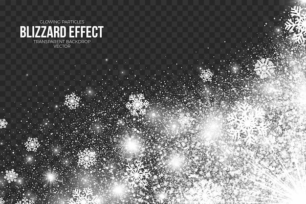 Snow blizzard effect on transparent background merry christmas and happy new year decoration