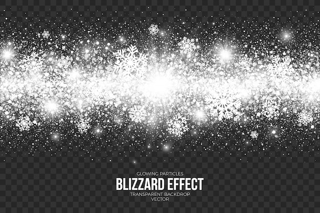 Snow blizzard effect on transparent background