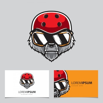 Snow boarder grizzly head logo name card template