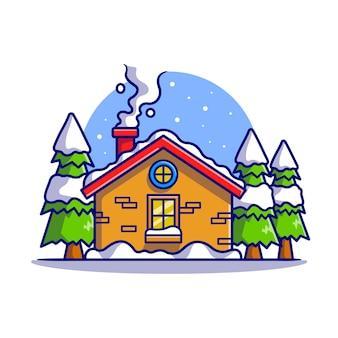 겨울 만화 벡터 아이콘 그림에서 눈 오두막입니다. 건물 휴일 아이콘 개념 절연 프리미엄 벡터입니다. 플랫 만화 스타일