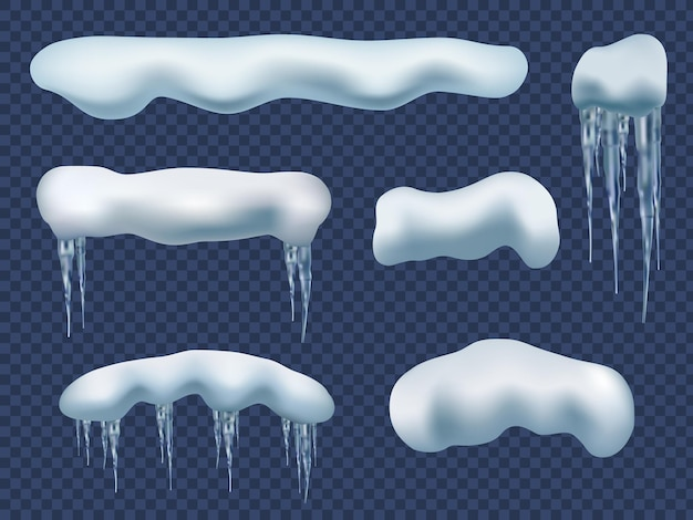 스노우 캡 현실감. 창의력 아름다움 얼음 요소 눈 겨울 모양 고드름 벡터 세트. 그림 얼음 서리 효과, 현실적인 수평 얼어 붙은 눈 덮인 모자
