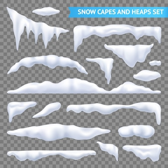 Snow capes and piles transparent set