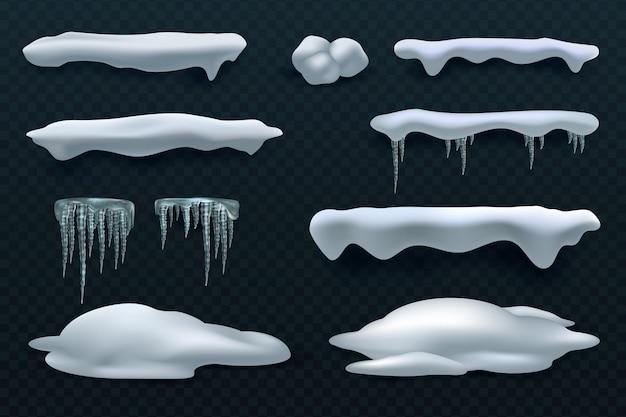雪のキャップとつらら。雪だるまと雪の吹きだまりのベクトルの冬の装飾