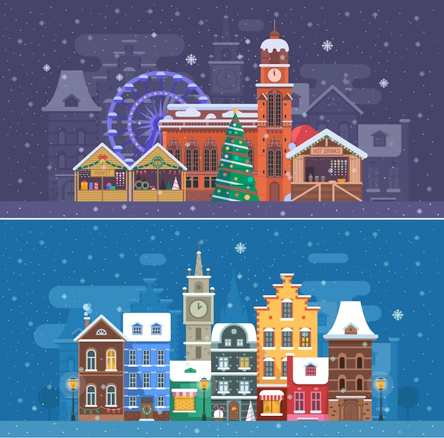 Снежный городской пейзаж с зимним европейским городком и рождественской ярмаркой.