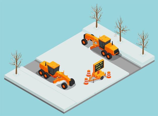 Composizione isometrica nel macchinario per la rimozione della neve in vista dei veicoli di sgombero sulla strada con l'illustrazione dei coni stradali