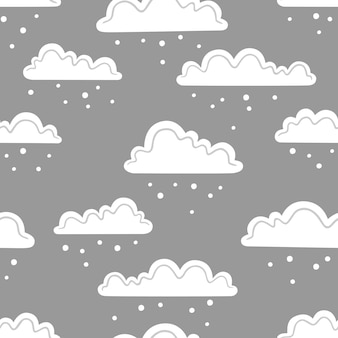 Snow clouds on a grey background. vector seamless pattern