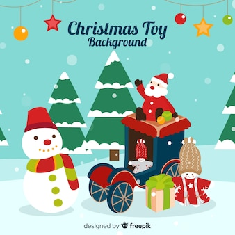 Snow-covered christmas toys background