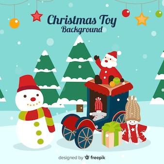 Заснеженные рождественские игрушки фон