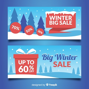 Snow-covered field winter sale banner
