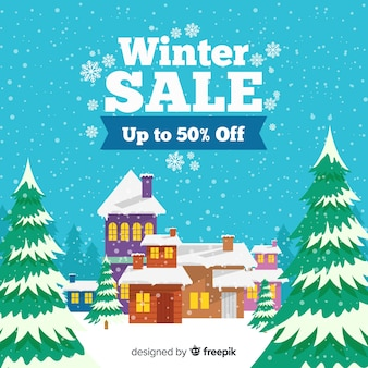 Snow-covered house winter sale background