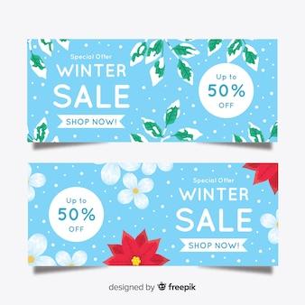 Banner di vendita inverno foglie coperte di neve