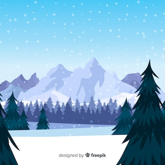 Snow-covered mountain winter background