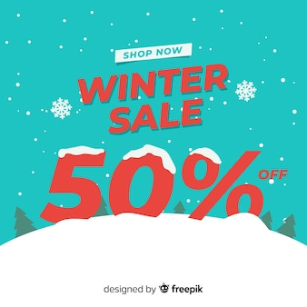 Snow-covered number winter sale background