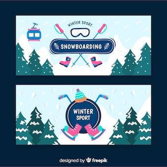 Snow-covered pines winter sport banner
