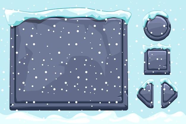 Заснеженные каменные активы и кнопки для пользовательского интерфейса игры. зимняя игра ui камни кнопки со снегом. изолированный объект и снег