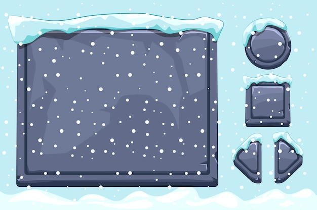 Snow covered stone assets and buttons for ui game. winter game ui stones buttons with snow. isolated object and snow