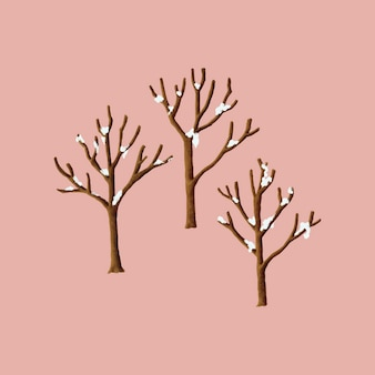Snow covered trees in the winter illustration
