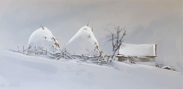 Snow covered watercolor landscape scenery