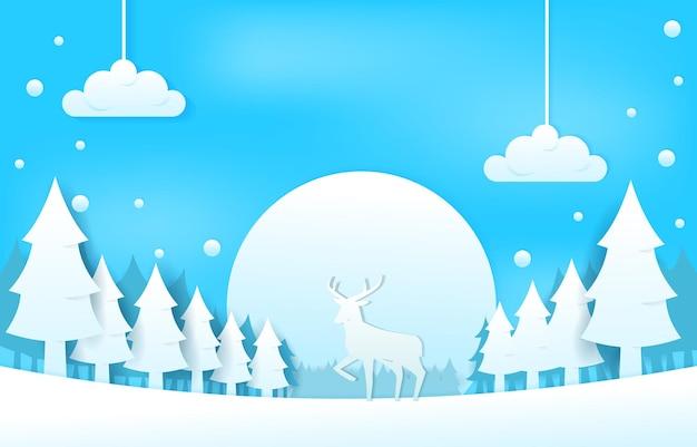 Снежный олень сосны зимой papercut вырезать бумагу стиль иллюстрации