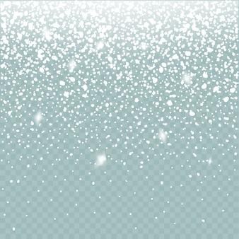 눈 효과 격리. 떨어지는 눈 겨울 추운 날씨. 크리스마스 눈 장식 배경입니다.