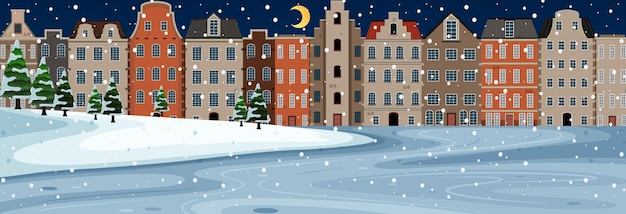 Snow falling horizontal scene at night with suburban buildings background