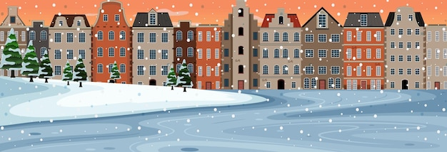Snow falling horizontal scene at sunset time with suburban buildings background