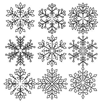 Snow flakesクリスマスラインクリップアート