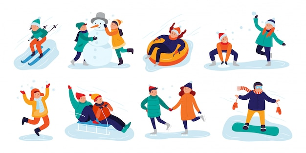 Snow games, smiling little girls and boys in winters clothes fun outdoors vector illustration set