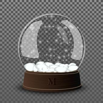 Snow glass ball. realistic snow glass ball template