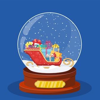 Snow glass globe with coach or sleigh inside