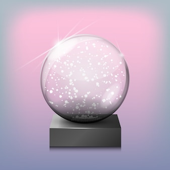 Snow glass transparent ball, vector illustration on transparent