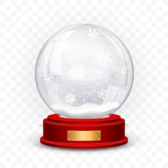 スノーグローブボール。現実的な新年のクリスマスオブジェクトが影付きの透明な背景に分離されました。