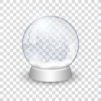 Снежный шар реалистичный новогодний рождественский объект, изолированный на прозрачном фоне с тенью,