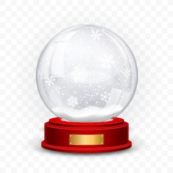 Snow globe ball. realistic new year chrismas object isolated on transperent background with shadow.