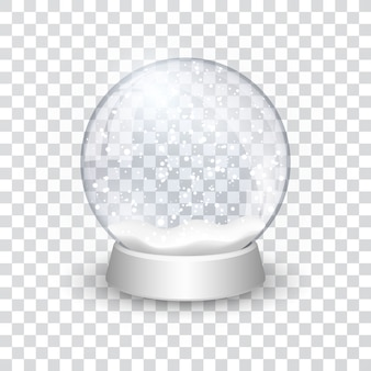 Snow globe ball realistic new year chrismas object isolated on transperent background with shadow,