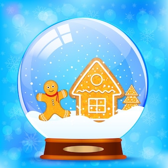 Snow globe and gingerbread vector