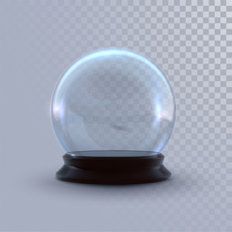 Snow globe isolated on checkered transparent background.   3d illustration. holiday realistic decoration. winter xmas ornament.