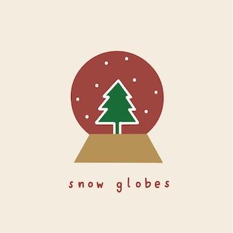 Snow globe symbol social media post christmas vector illustration