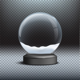 Snow globe template on transparent background, christmas and new year design element.