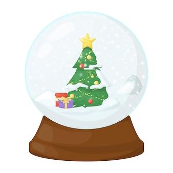Snow globe vector illustration crystal 3d sphere transparent glass ball