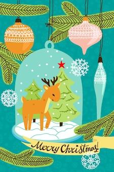 크리스마스 사슴과 스노우 글로브입니다. 크리스마스 카드입니다.