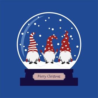 クリスマスのgnomesが入ったスノードーム