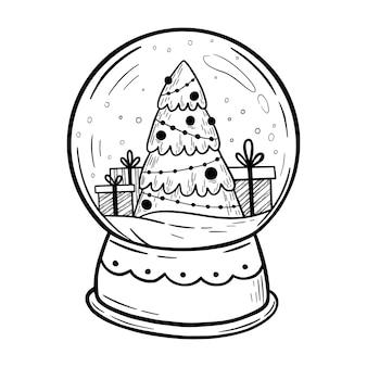 クリスマスツリーとスノードームクリスマススノードームメリークリスマスと新年あけましておめでとうございますカード