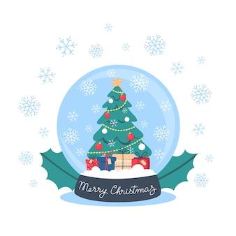 クリスマスツリー、ギフト、雪片のあるスノードーム