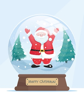 Snow globe with cute santa claus within vector illustration in cartoon flat style
